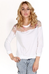 Floral Printed Hollow Pullover Shoulder T-shirt