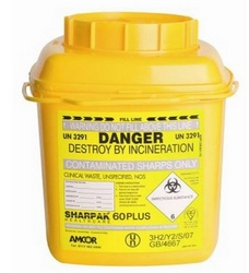 Sharps 60 plus sharps disposal bin, 6 liters from ARASCA MEDICAL EQUIPMENT TRADING LLC