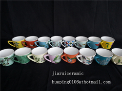 Hand Paint Porcelain Floral Pattern Customized Ceramic Coffee Cup Mug for Hotel Office Home Restaurant from JI