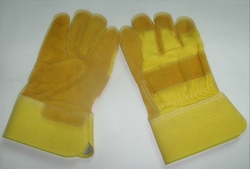 Industrial leather work hand gloves