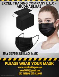 3 PLY DISPOSABLE BLACK MASK IN DUBAI