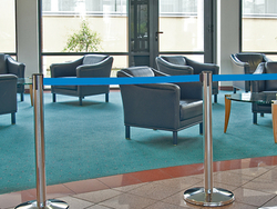 STAINLESS STEEL POLE BARRIER WITH BLUE BELT