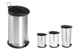 Steel Pedal Bin with Black PP Lid from AL MAS CLEANING MAT. TR. L.L.C