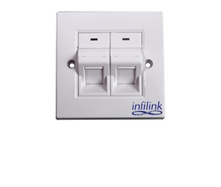 Face Plate - 86 x 86 UK Style, Double Port from SYNERGIX INTERNATIONAL