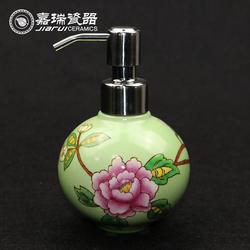Pottery Hand Paint Floral Custom Porcelain Hand Wash Liquid Soap Dispenser