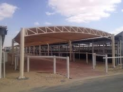 CAR SHADE STRUCTURES, FABRIC SHADES STRUCTURES, TENSILE SHADES STRUCTURES, PVC CAR PARK SHADES from BAIT AL MALAKI TENTS & SHADES +971553866226