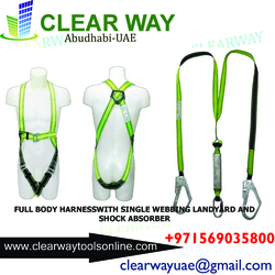 full body harness with single webbing lanyard and shock absorber in mussafah , abudhabi , uae from CLEAR WAY BUILDING MATERIALS TRADING