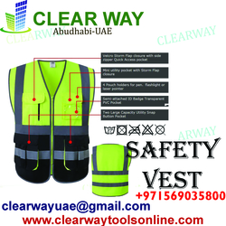 MULTI POCKETS CLASS 2 HIGH VISIBILITY ZIPPER FRONT SAFETY VEST WITH REFLECTIVE STRIP VEST DEALER IN MUSSAFAH , ABUDHABI ,UAE from CLEAR WAY BUILDING MATERIALS TRADING