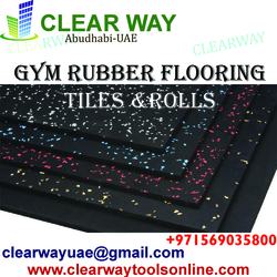 GYM RUBBER FLOORING TILES AND ROLLS IN MUSSAFAH , ABUDHABI , UAE from CLEAR WAY BUILDING MATERIALS TRADING