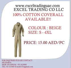 COTTON COVERALL KHAKI from EXCEL TRADING COMPANY - L L C