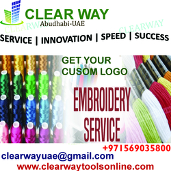 CUSTOM LOGO EMBROIDERY IN MUSSAFAH, ABUDHABI , UAE from CLEAR WAY BUILDING MATERIALS TRADING