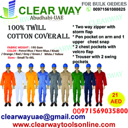 195 GSM - 100% TWILL COTTON COVERALL DEALER IN MUSSAFAH , ABUDHABI ,UAE from CLEAR WAY BUILDING MATERIALS TRADING