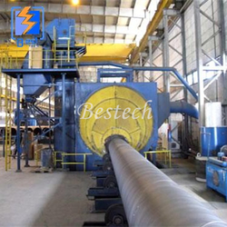 Round Steel Pipe outer Wall Shot Blast Cleaning Machine from QINGDAO BESTECH MACHINERY CO.,LTD