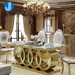 Wholesale Gold Metal Stainless Steel Dining Room Sets Marble Dinning Table Chairs Set