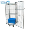 Laundry roll container cage trolley