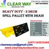 HEAVY DUTY 2 DRUM SPILL PALLET WITH DRAIN DEALER I ...
